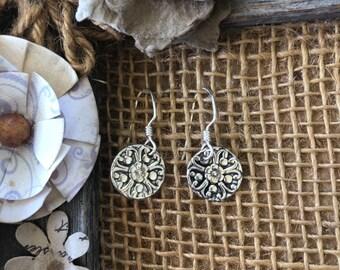 Antiqued Flower Earrings