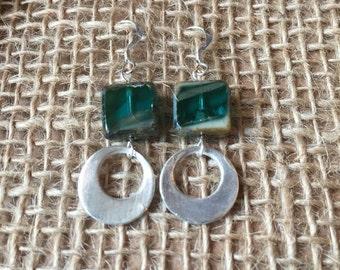 Blue Glass Silver Cirlce Dangle Earrings