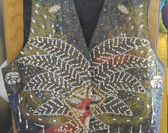 Women's Size M Hand Beaded Vest from Indonesia