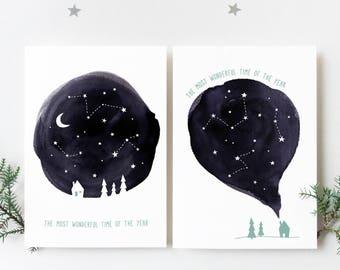 Minimalist Christmas Cards, Starry Sky Black and White Christmas Cards, Illustrated Christmas Cards, Scandinavian Christmas Cards Set of 2