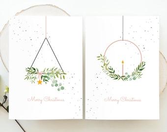 Watercolor Wreath Christmas Cards Minimal, Christmas Greenery Christmas Cards, Modern Christmas Cards, Christmas Cards Handmade Watercolor