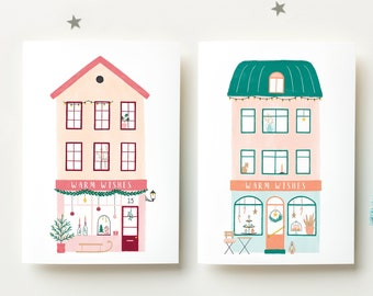 Cute Christmas Card Set, 2021 Holiday Cards Illustration, Cute Holiday Card, Illustrated Christmas Card Drawing, Warm Wishes Holiday Cards