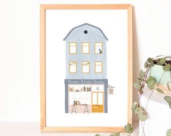 Art print bookstore illustration - pastel art prints house drawing, gift for booklover, reading poster kids room, classroom poster books
