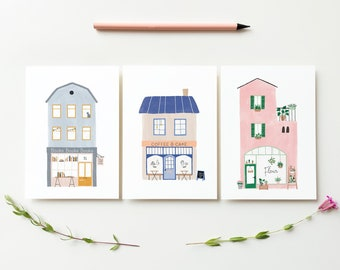 Shops cards set - illustrated cards plants books coffee gift home decor art prints houses cards interior stationery illustrations postcards