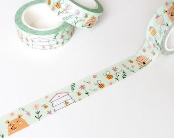 Bee Washi Tape, Cute Washi Tape Bee, Washi Tape Floral Cute, Wide Washi Tape for Planners, Washi Tape Green, Nature Washi Tape Illustration