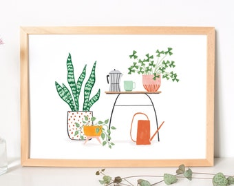 Art print coffee & plants - quirky botanical poster for plant lovers, a reminder to enjoy the little things, eco green gift for her