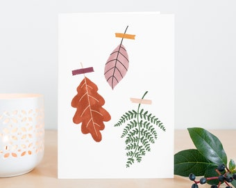 Fall leaves card - greeting cards for fall, thanksgiving card, autumn cards pack leaves, fall birthday card