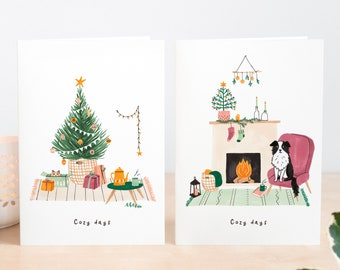Christmas Card set cat and dog, 2020 Christmas Cards illustration, Cute Holiday Cards, Illustrated Christmas Cards pets, xmas cards pack