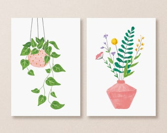 Set of 2 postcards plant and wildflowers, illustrated flowers card, hanging plant card, floral illustration, plant lady card, summer cards