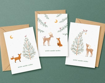 Set of 3 Christmas Greeting Cards - Eco-Friendly Woodland Themed Winter Wonder Wishes Holiday Greeting Card Bundle | Christmas Card Pack