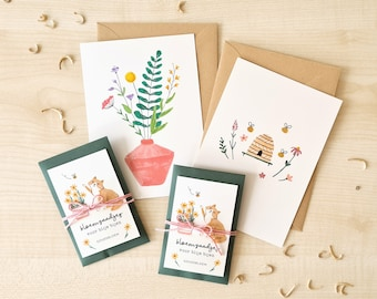 Set of flower seeds and cards – pot marigold seeds for planting calendula and flower and bees postcards, cute illustrated green thumb gift