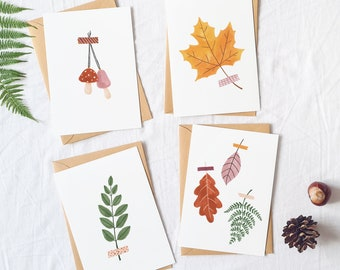 Fall cards set leaves - autumn cards pack, fall greeting card bundle, cute greeting cards for fall, halloween cards handmade