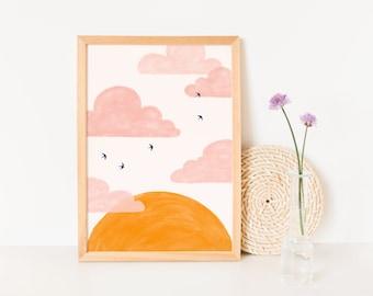 Nursery Wall Art Clouds, Nursery Art Sun and Clouds, Pink Clouds Wall Art, Pink Clouds and Sun Art Prints, Pink and Orange Nursery Décor