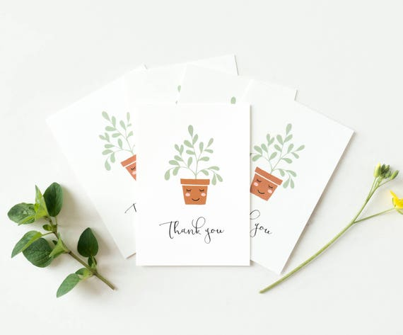set of 5 small thank you cards with plants set of mini cards etsy