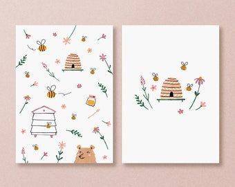 Postcard set honey bees - cute bee and flowers cards with summer vibes
