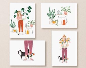 Crazy Plant Lady Cards, Crazy Cat Lady Cards Postcard Set, Plant Postcards for Women, Cute Postcard Set, Illustrated Postcard Set Art