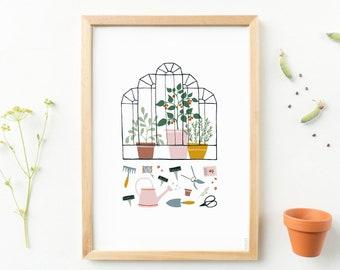 A4 print greenhouse - garden poster, art prints, wall art gardening gift plants, garden gift green thumb, green wall decor, gift for mother