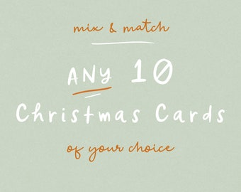 Choose any 10 Christmas cards pack - multipack christmas cards to mix and match. pack of 10 christmas cards in cheerful, scandinavian style