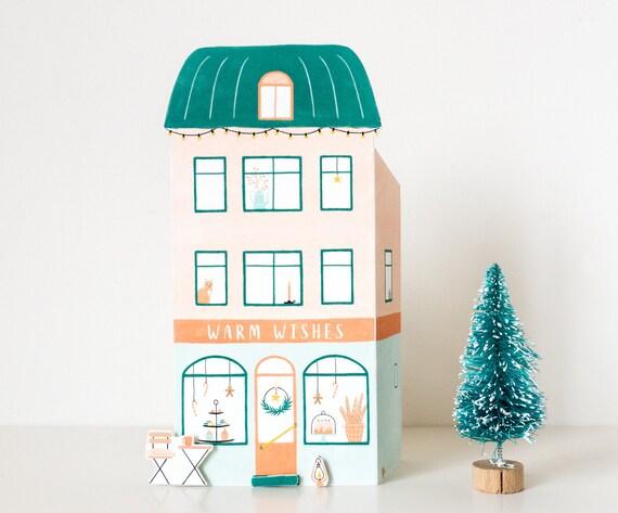 8x Diy Kerstdecoratie : Diy kerst huisje cadeau winkel pop up kaart winkel etsy