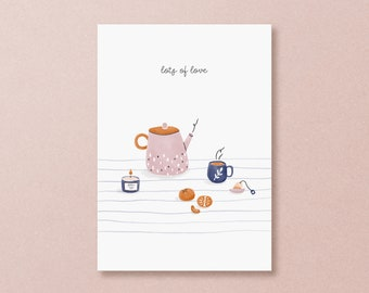 Postcard lots of love - Take care card with cozy tea pot, cute selfcare card hand drawn, autumn art to cheer you up, friendship card women