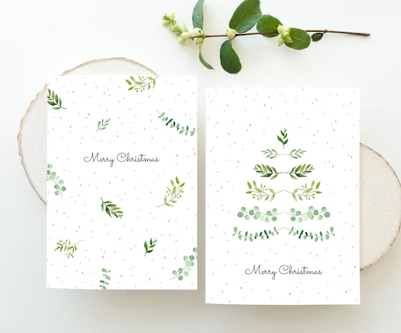 Weihnachtskarten Set Weihnachten Frohe Weihnachten Aquarell Etsy