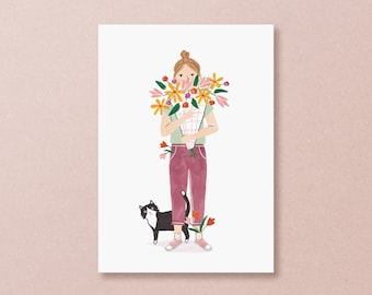 Postcard flower girl and black cat - send flowers as a birthday card for mom, thank you or get well soon card, mothers day card