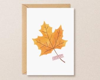 Hello fall greeting card - cozy autumn card leaf, fall maple leaf illustration, halloween card handmade, fall greetings, everyday cards