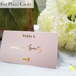 Gold foil and blush meal choice place cards, calligraphy gold escort card food choices, gold name and meal choice cards, rose gold foil card