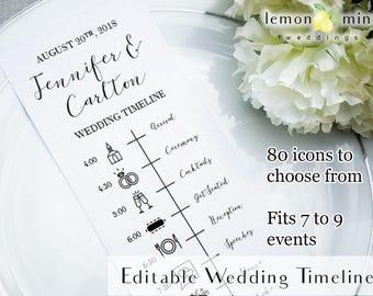 editable wedding timeline card printable wedding timeline with icons customizable wedding day timeline pdf wedding timeline template
