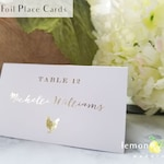 Gold foil calligraphy meal choice place cards, rose gold escort card food choices, gold name and meal choice cards, gold foil name meal card