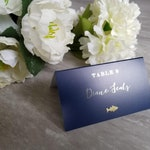 Gold foil on navy meal choice place cards, navy gold wedding, gold escort card with food choices, name and meal choice cards, gold foil card