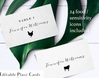 Printable calligraphy meal choice place cards, rustic escort card food choices, name and meal choice cards, reception name card with food