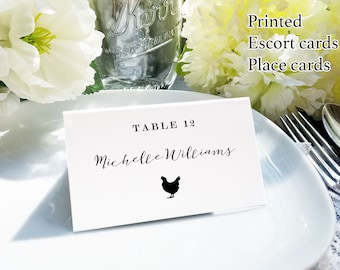 Calligraphy meal choice place cards, printed escort card with food choices, custom name and meal choice cards, custom name card with food