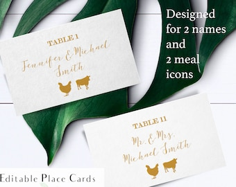 Gold printable place card with two names, gold font place card with food icons, printable escort card with meals, table number and food