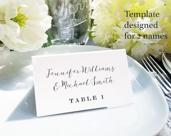 Calligraphy place setting card for one and two names, printable escort card, name and table number card, editable wedding name card template