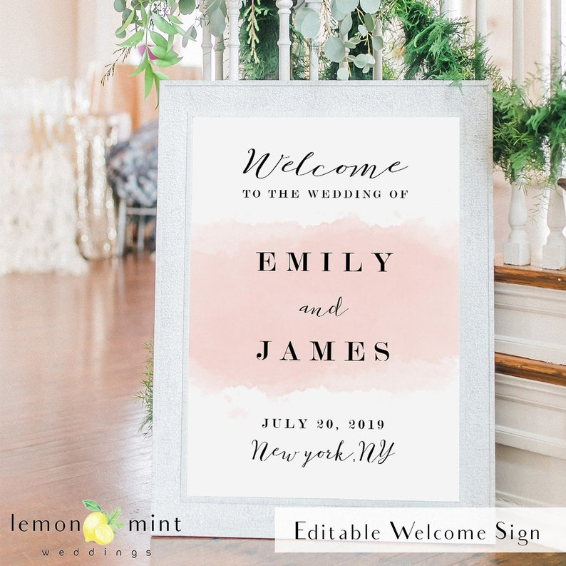 Printable blush watercolor welcome sign blush wedding décor image 0