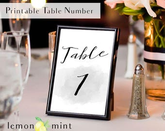 Printable gray watercolor table sign, charcoal wedding decor, watercolor table number sign, slate table sign, grey table number sign