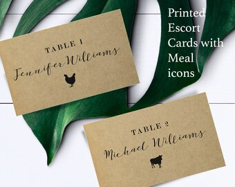 Kraft place cards with meal choice, rustic escort card with food choices, rustic name and meal choice cards, custom name card with food