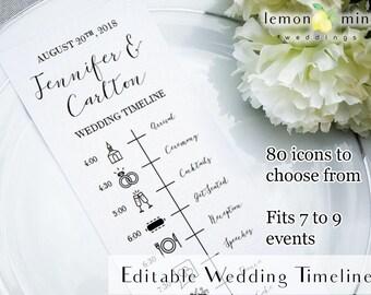 Wedding timeline etsy editable wedding timeline card printable wedding timeline with icons customizable wedding day timeline junglespirit Images