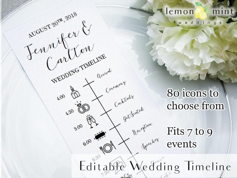 Editable wedding timeline card printable wedding timeline image 0