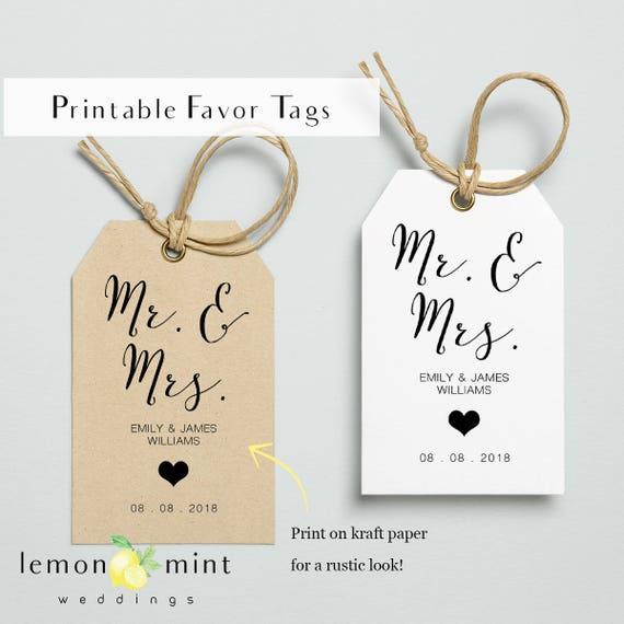 Printable Wedding Favor Tags Mr And Mrs Printable Gift Favor Etsy