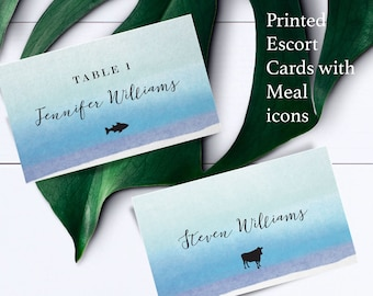 Ocean watercolor place cards with meal choice, escort card with food choices, ocean name and meal choice cards, custom name card with food