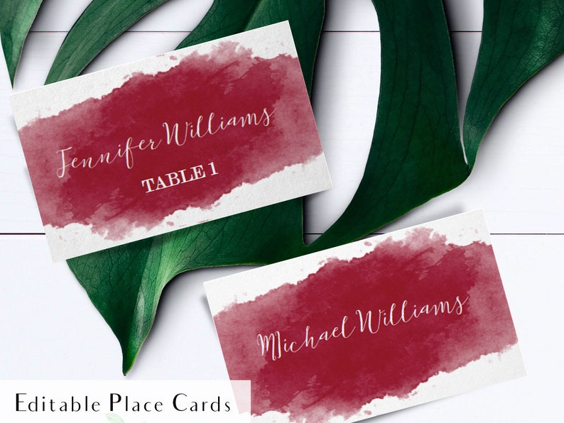 Printable burgundy watercolor escort card calligraphy place image 0