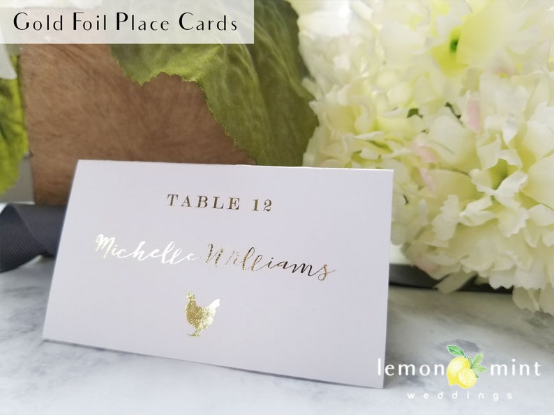 Gold foil calligraphy meal choice place cards rose gold image 0