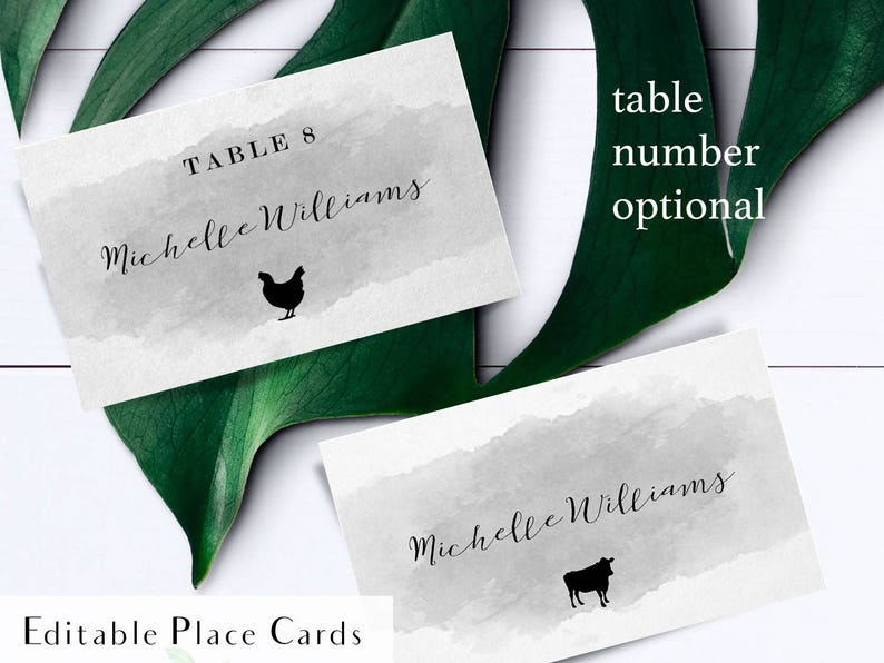 Printable gray watercolor meal choice cards escort card food image 0