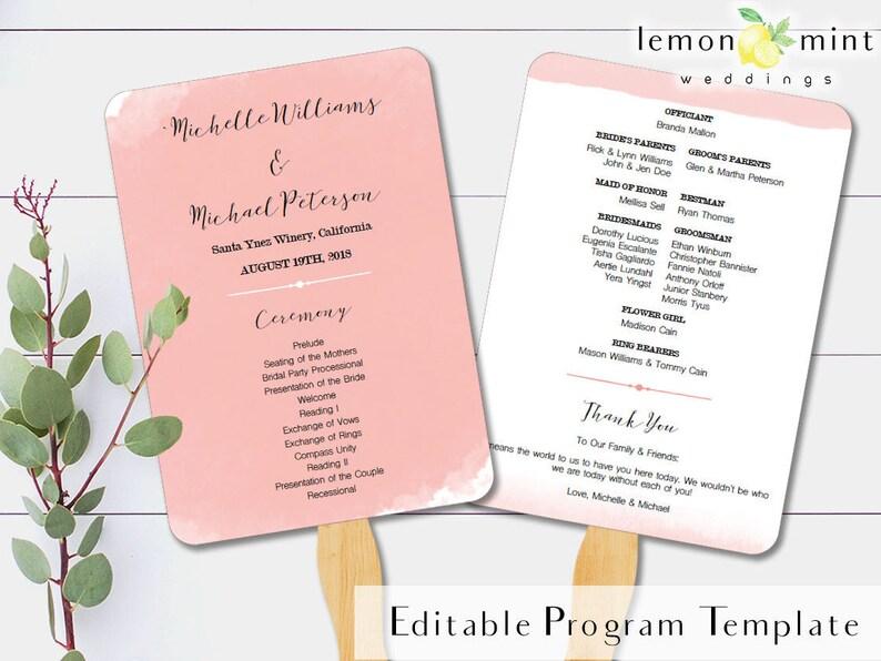 Blush watercolor fan program template printable pink wedding image 0