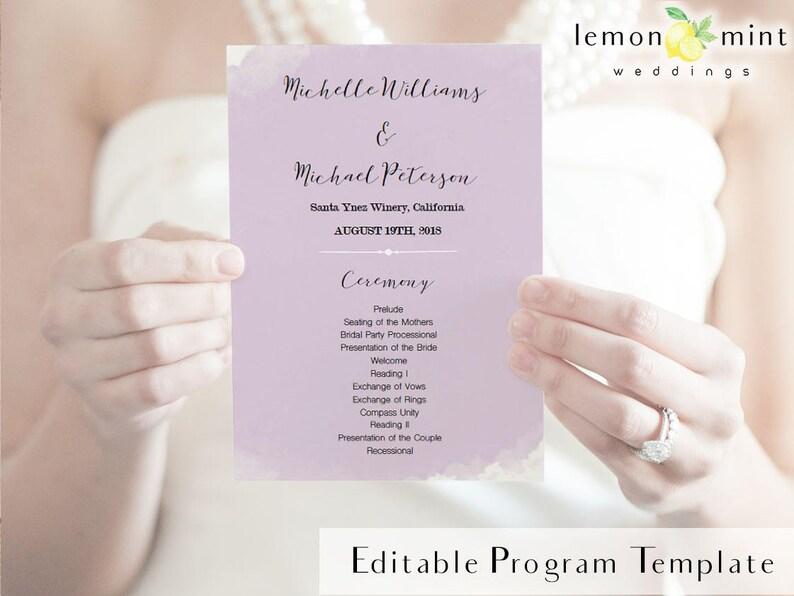 Printable lavender wedding program fan violet watercolor image 0