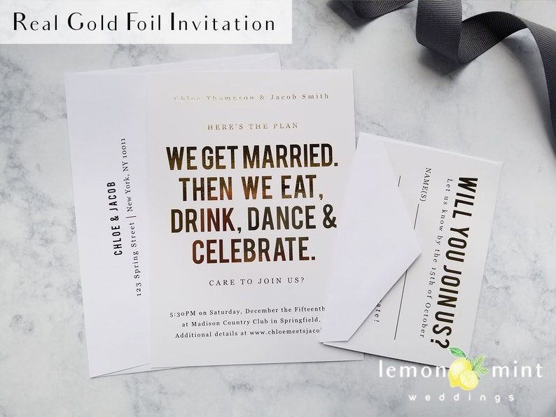 100 gold foil wedding invitations modern minimal rose gold image 0