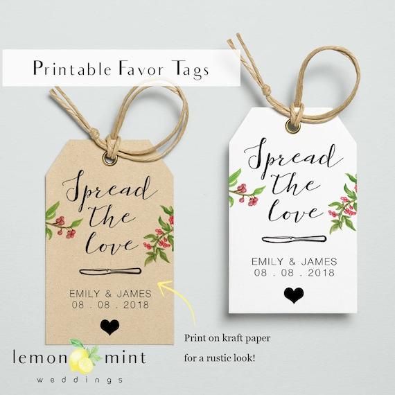 Homemade jam tags spread the love printable wedding favor | Etsy