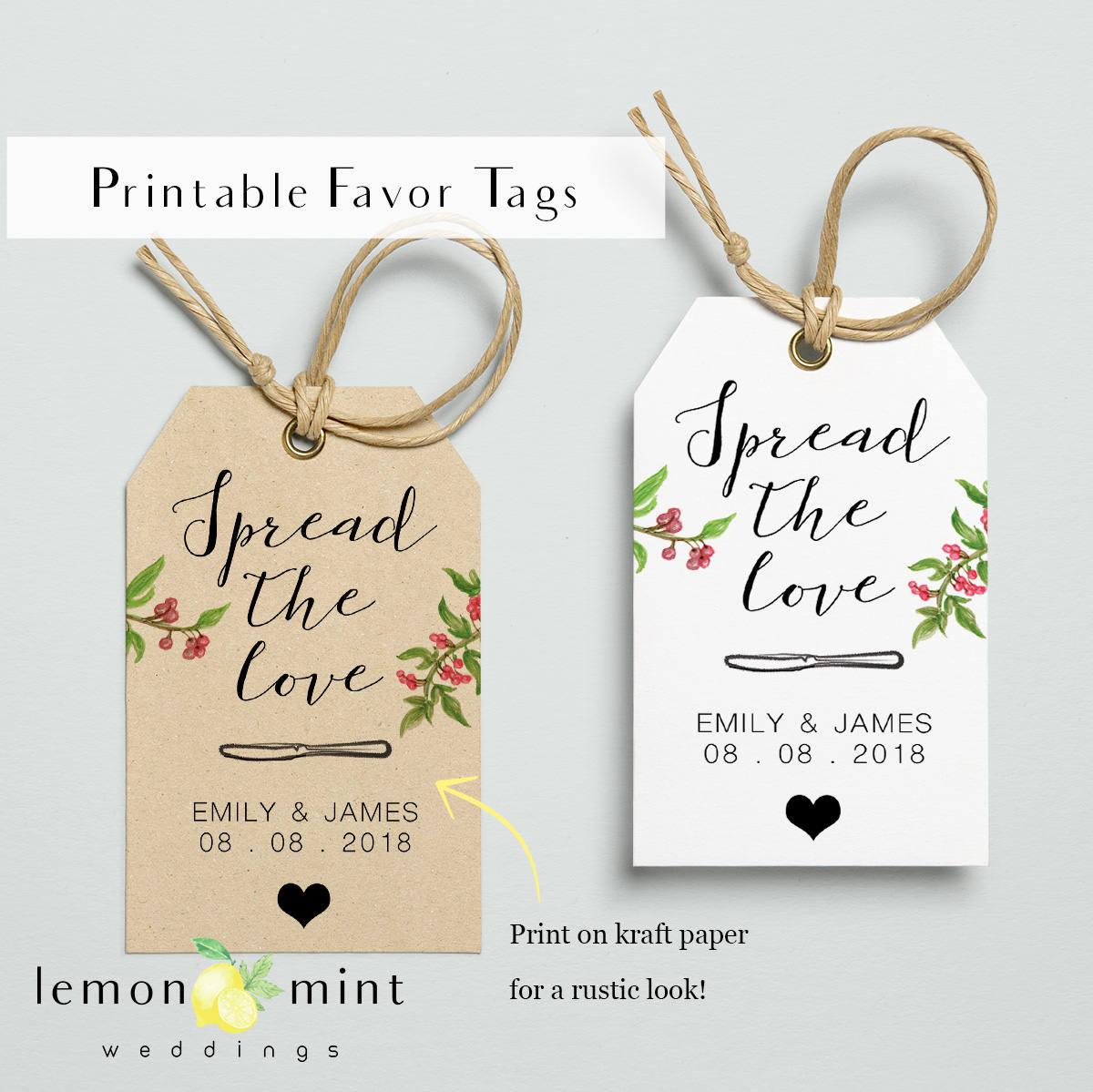 Homemade jam tags spread the love printable wedding favor